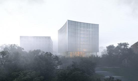 Förslaget KUNSKAPENS FYR tillarkitekttävlingen om utformningen av Göteborgs nya universitetsbiblioteket (bilden är en illustration).