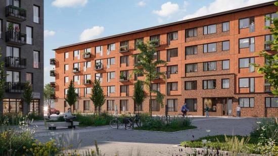 Visionsbild av kvarteret Spannlandet som Brickhouse Bostad utvecklat i Täby (bilden är en illustration).
