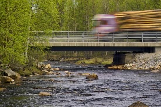 Bro över Rokån. Under bron syns stöden från den gamla bron.
