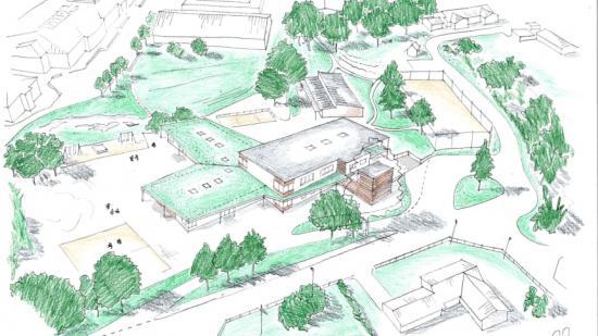 Bilden visar en perspektivbild på den nybyggda förskolan Persborg från söder. Taket på plan 1 är beklätt med gröna tak, så att gående på Persborgsvägen ser ner på en grön yta. Fasadens utförande blir i fasadtegel kombinerad.
