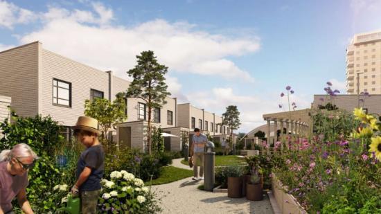 I bostadsrättsföreningen Ribbhusen kommer det att finnas en gemensam trädgård med odlingslotter, grillplats, sandlek och ett trätåg som knyter an till platsen (bilden är en illustration).