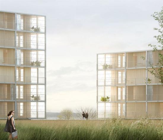 <span><span><span>Visionsbild över projektet &Auml;ngshusen, som kommerbyggas i stadsdelen Strandängen vidVätterns strand i Jönköping (bilden är en illustration).</span></span></span>
