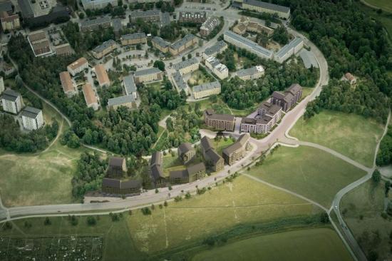 En visionsbild över Hammarparken utifrån den reviderade detaljplanen.