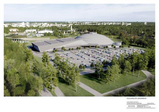 Illustration av Ouluhall utbyggnad.