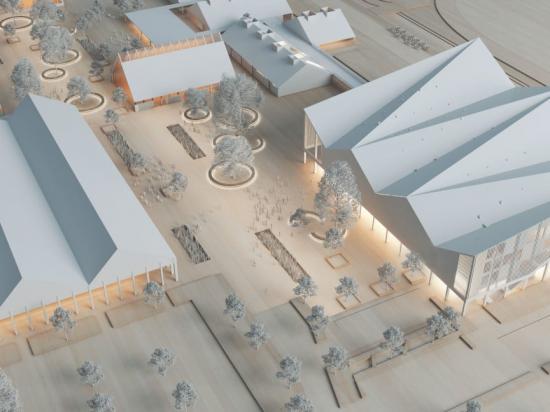 Översiktsskiss över nya Jägersro Hästcenter (bilden är en illustration).