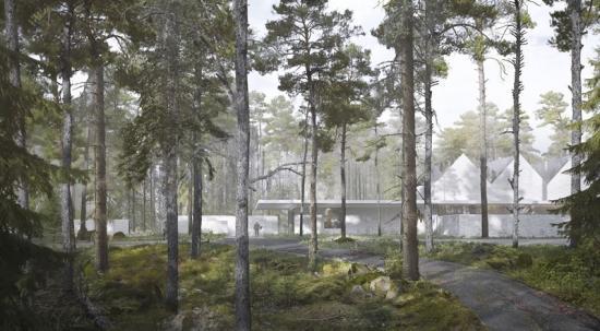 Whites vinnande förslag har en utformning gjord i samklang med omgivningarna och skogen (bilden är en illustration).