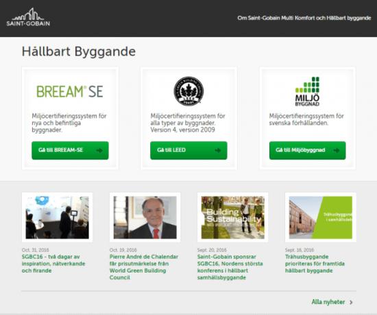 Saint-Gobain har skapat portalen Hållbartbyggande.se.