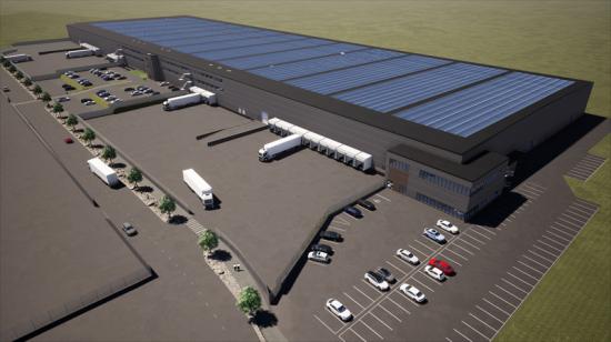 Visionsbild över solcellstaket på Hisingen Logistikpark (bilden är en illustration).