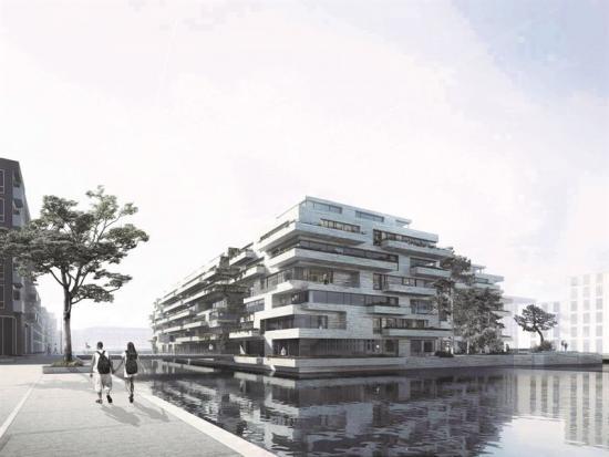 De 233 bostäderna kommer att fördelas på sex våningar ovanpå ett parkeringshus, som i sin tur består av fyra våningar belägna under vattenytan.