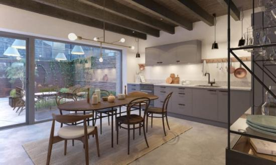 Visualisering av ett kök i kvarteret Morgondoppet.