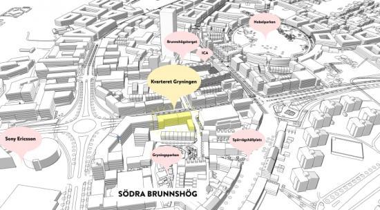 Illustration över lokalisering för Kvarteret Gryning.