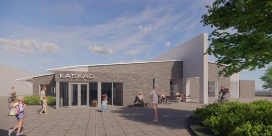 Visionsbild över <span>badhuset Kaskad som ska byggas i Skene i Marks kommun (bilden är en illustration).</span>