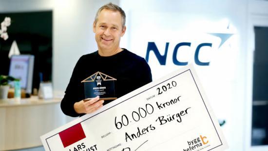 Anders Bürger, projektchef på NCC i Örebro och mottagare av Lars Bergqvist-stipendiet 2020.