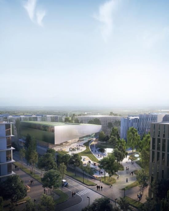 Nytt Science Center i Lund och Science Village. Exteriörvy från Pikogatan av tävlingsförslaget Orbit.