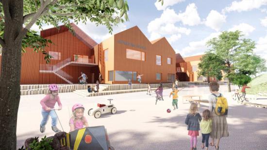 Visionsbild över Mörrums nya skola.
