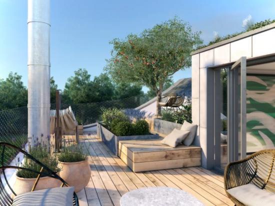 Visualisering av en takterrass i kvarteret Morgondoppet.