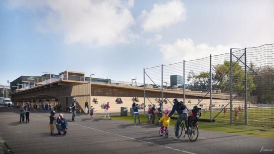 P-hus Heden är en tillfällig anläggning som rymmer cirka 750 parkeringsplatser, läktare, verksamhetslokaler och löparbana.