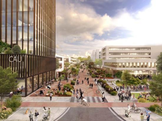 Det mest urbana och livliga stråket av campusområdet där bottenvåningarna har ett rikt utbud av upplevelser i form av caféer, restauranger, butiker, kontor, utställningar och startup-hubbar.