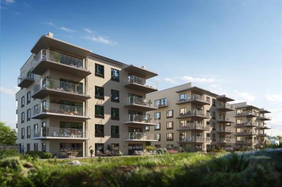 I Bromma bygger SKB sex hus med totalt 114 kooperativa hyresrätter, som står färdiga för inflyttning våren 2022 (bilden är en illustration).