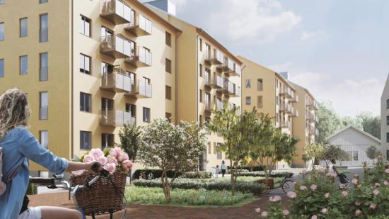 Kvarteret Sköterskan i Sege Park, Malmö med 113 bostäder fördelade på två huskroppar.