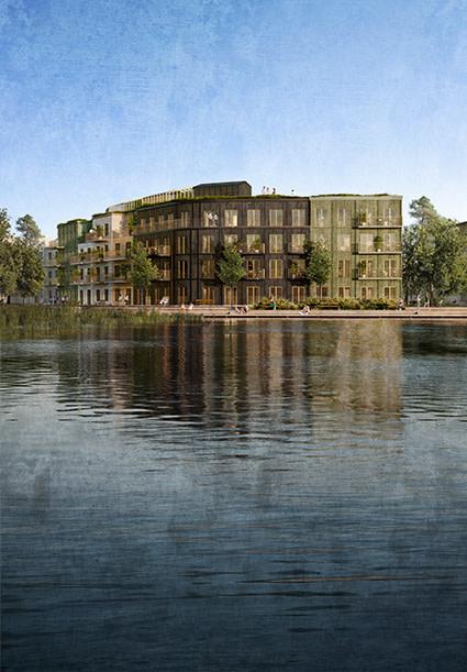 Närmast sjön bygger Nordrs ett kvarter med cirka 50 bostadsrätter (bilden är en illustration).