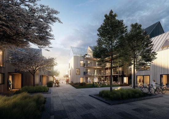 På den gamla Växthustomten i Floda utanför Göteborg planeras för 200 till 300 nya bostäder (bilden är en illustration).
