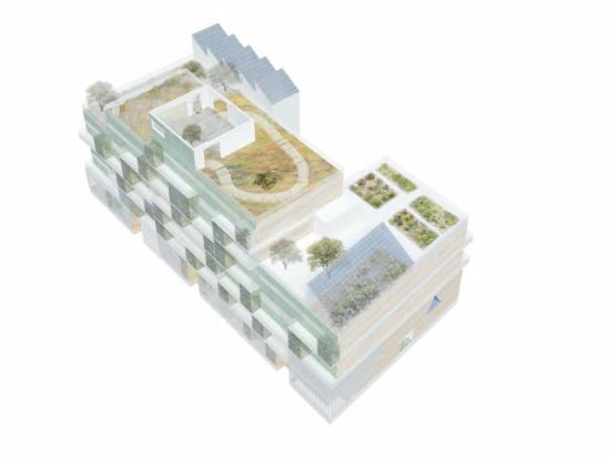 Fastigheten kommer ha engemensam takterrass,som även ger plats för solceller(bilden är en illustration).