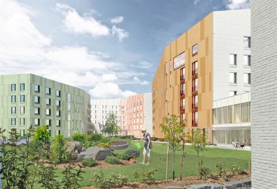 Vistionsbild av det nya kvarterets innergård.