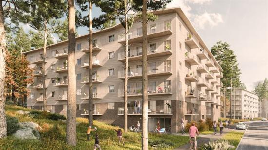 Visionsbild över bostadsområdet i Tumba Skog, Botkyrka (bilden är en illustration).