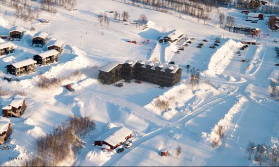Vybild över nya gondolbyn och västra Hemavan(bilden är en illustration).