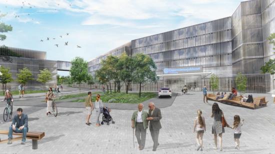 Den föreslagna nya södra entrén till Linköpings Universitetssjukhus (bilden är en illustration).