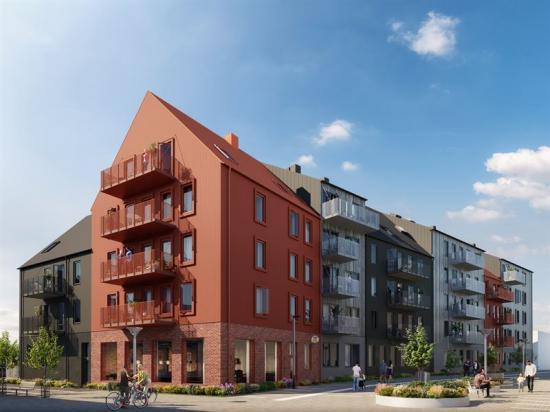Visionsbild över Brf Honungskupan, som kommer rymma 53 lägenheter (bilden är en illustration).