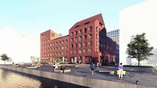 Visionsbild över fastigheten som ska byggas i Västerport i Varberg (bilden är en illustration).
