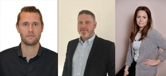 Från vänster: Daniel Lundmark (nytillträdd försäljningschef), Anders Olsson (tillträdande regionchef) och Ulrika Berg (nytillträdd marknadschef).
