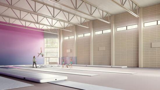 Sjövalla FK Trampolin och Pixbo Gymnastikförening kommer bruka den nya idrottsanläggningen. Det finns höga krav på säkerhet och takhöjd – medlemmarna hoppar nästan 10 meter upp i luften (bilden är en illustration).