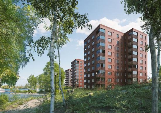 Visionsbild över de nya punkthusen (bilden är en illustration).