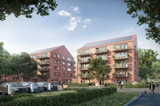 Visionsbild över Brf Knytkalaset som ska byggas i den nya stadsdelen i Sege Park i Malmö (bilden är en illustration).
