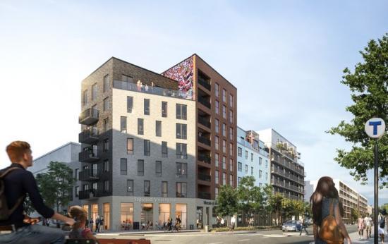 Botrygg utvecklar ett stadskvarter mitt emot Barkarbystadens tunnelbanestation och bygger 203 lägenheter, två bokaler och sju lokaler i gatuplan som starkt kommer bidra till en dynamisk och livfull stadsmiljö (bilden är en illustration).