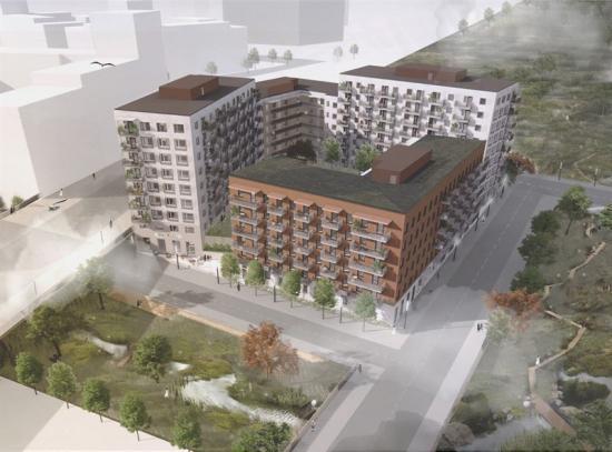 Kvarteret sett från ovan. Hustaken med solceller som försörjer huset med fastighetsel (bilden är en illustration).