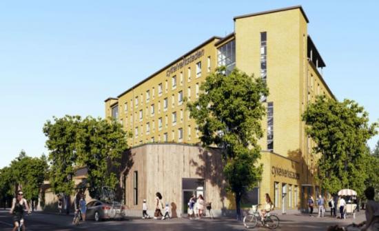 Brf Cykelverkstaden i Täby park, som beräknas vara klar för inflyttning under slutet av 2020.