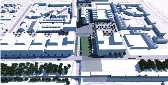 De nya hyresrätterna byggs mellan Oxie centrum och tågstationen.