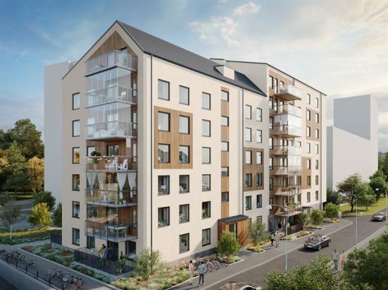 Visionsbild över bostadsrättsfastigheten (bilden är en illustration).
