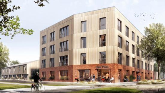 Det vinnande förslaget Pilspetsen kommer att ligga i korsningen Allmogevägen – Engelbrektsgatan.