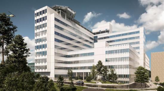 Ny vårdbyggnad vid Danderyds sjukhus. Bilden är en illustration somvisar byggnadens ungefärliga storlek. Utformning och fasad kan komma att ändras.