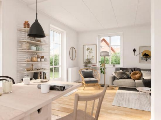 3D-bild över hur bostäderna i Brf Skogsbrynet kan komma att se ut invändigt efter inflytt.