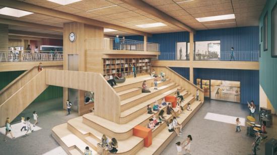Flesberg skola byggs i korslimmat massivträ. Trä är också det material som dominerar interiören.
