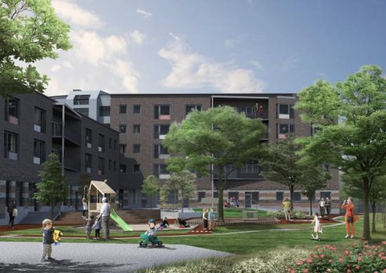 Nu byggs Huddinge kommuns första kombinerade vårdboende och förskola i Snättringe. Byggnaden utformas så att de äldre kan blicka ut över förskolegårdens liv och rörelse, och barnen kan samtidigt få en uppmuntrande vink eller ett leende.
