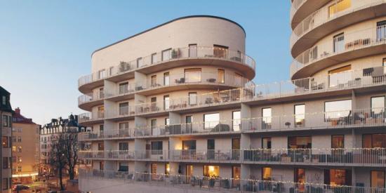 Vinnare av Bopiset 2019: SKB, Stockholms Kooperativa Bostadsförening. På bilden: SKB:s Kvarteret Basaren på Kungsholmen, Stockholm, ritat av Wingårdh arkitektkontor.