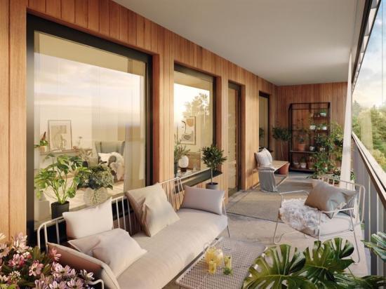 Så här kan balkongerna se efter inflytt i Brf Ridderstad (bilden är en illustration).