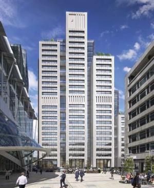 Illustration över kontorsbyggnaden som ska byggas på 20 Ropemaker Street i centrala London.